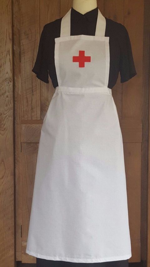 LADIES ADULT  NURSE FANCY DRESS RED CROSS FULL APRON Victorian Edwardian WW1